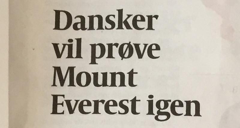 dansker vil bestige mount everest