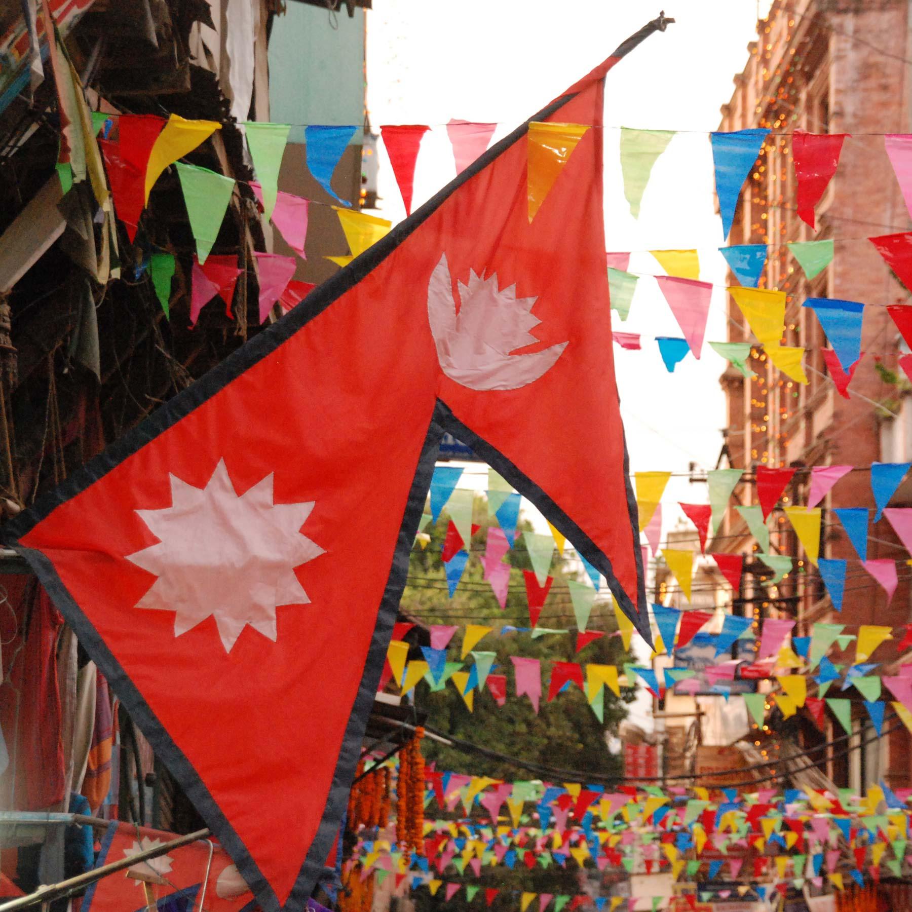 Nepal flag i gade