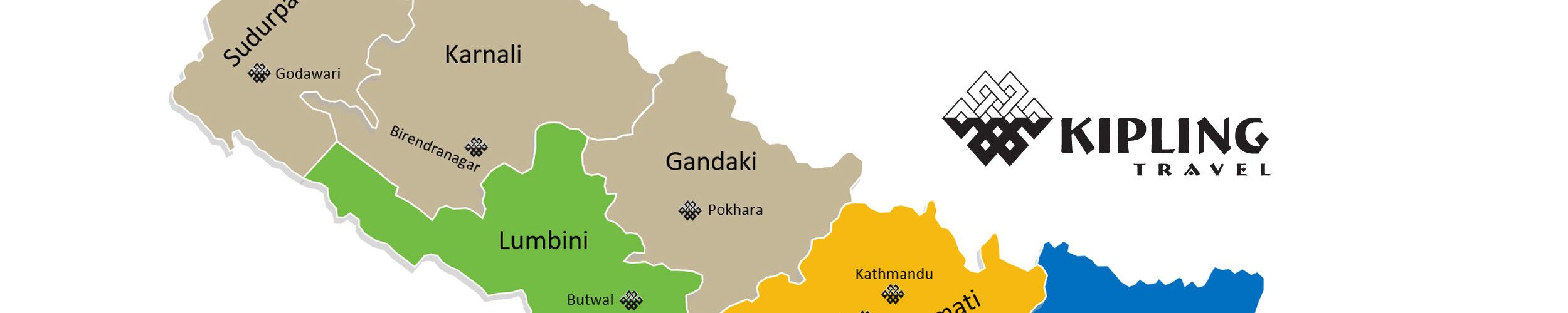 Distriktskort over Nepal